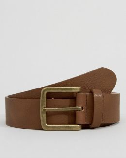 Wide Belt In Brown Faux Leather