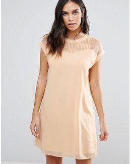Longline Dress With Lace Yoke