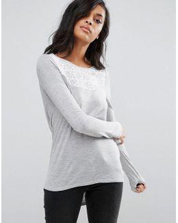 Drapey Cowl Hem Shirt With Lace Yoke