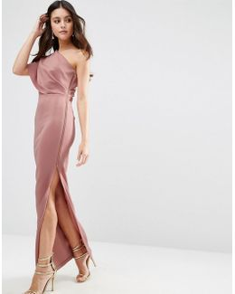 One Shoulder Scuba Deep Fold Maxi Dress With Exposed Zip