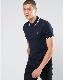 Slim Fit Polo With Twin Tipped In Blue