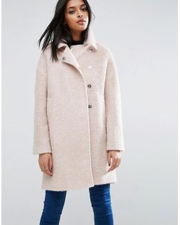 Oversized Cocoon Coat With Funnel Neck In Wool Mix And Boucle Texture