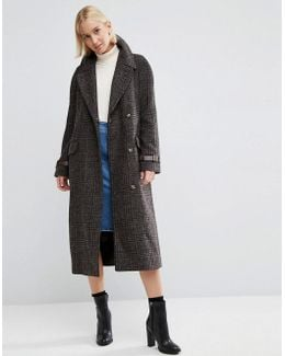 Coat In Check With Contrast Cuff