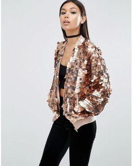 Sequin-embellished Bomber Jacket