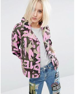 Camo Jacket With All Over Word Print