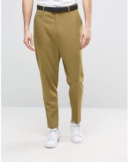 Drop Crotch Trouser In Light Green
