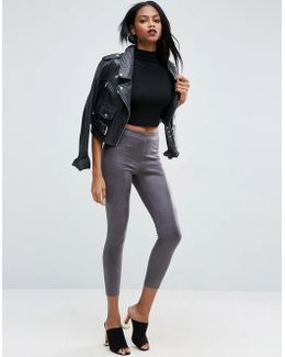 Distressed Coated Leather Look Leggings