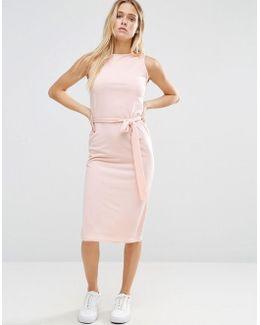 Midi Dress With Tie Waist