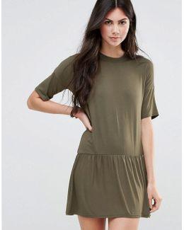 T-shirt Dress With Pleated Hem