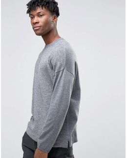 Oversized Textured Jumper With Side Splits In Grey