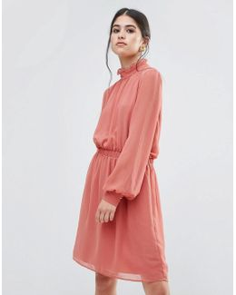 Dress With Frill Neck