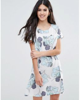 Shift Dress In Large Floral Print