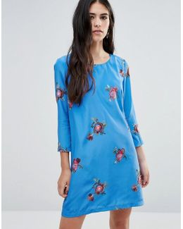 Shift Dress With Floral Embroidery