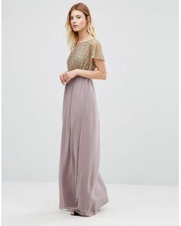 Maxi Dress With Metallic Lace Top