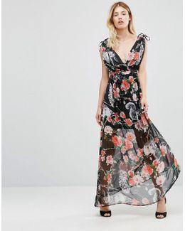 Maxi Dress In Woodland Print