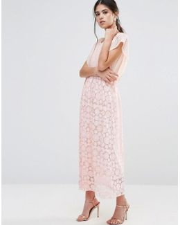 Maxi Dress With Burnout Skirt And Kimono Top