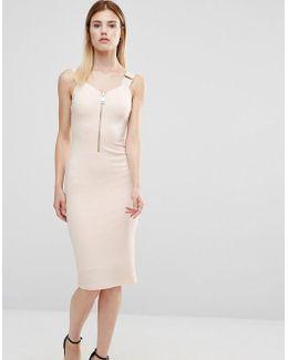Zip Front Pencil Dress