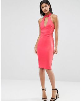 Choker Neck Pencil Dress