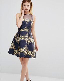 Printer Skater Dress With Mesh Top