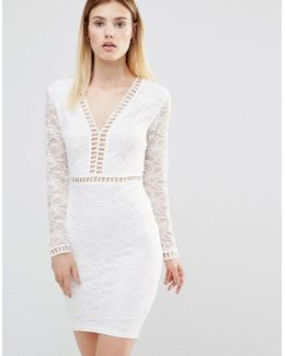 Plunge Front Mini Dress With Lace Sleeves