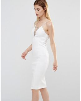 Lace Up Front Cami Midi Dress