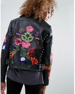 Premium Leather Biker Jacket With Floral Embroidery And Stud Detail