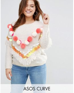 Jumper With Pom And Sequins