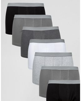 Trunks In Monochrome With Grey Textured Waistband 7 Pack