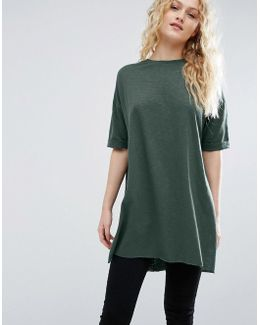T-shirt With Side Split And Longline Oversized Fit In Textured Jersey