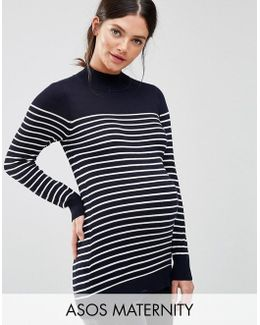 Jumper In Stripe With High Neck