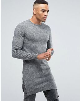 Muscle Fit Super Longline Crew Neck With Side Splits