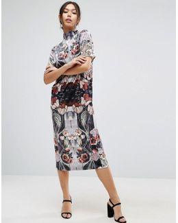 Velvet Printed Shift Dress