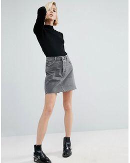 Denim High Rise Pelmet Skirt In Ruthless Grey Wash With Raw Hem