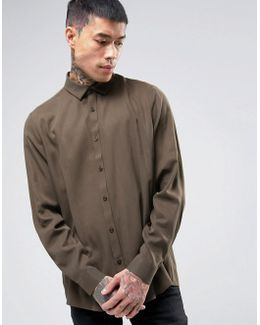 Oversized Peached Viscose Shirt In Khaki