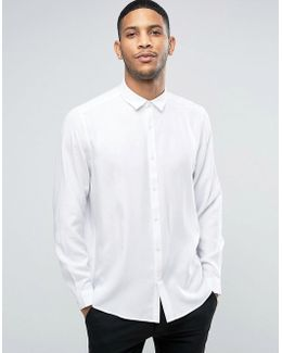 Oversized Peached Viscose Shirt In White