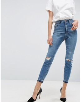 Farleigh High Waist Slim Mom Jeans In Hawthorn Mid Stonewash With Busted Knees And Let-down Hems