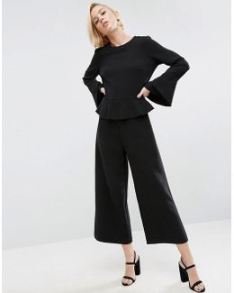 Jumpsuit With Soft Ruffle And Raw Edge