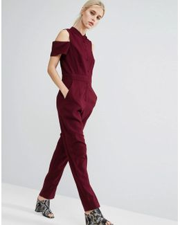 Collarless Jumpsuit With Shirt Detail
