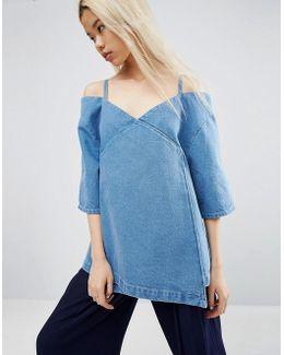 Denim Cold Shoulder Top In Midwash Blue