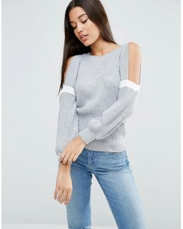 Jumper With Cold Shoulder In Rib