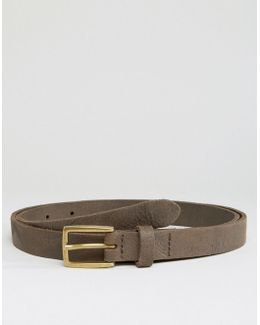 Skinny Leather Belt With Vintage Finish