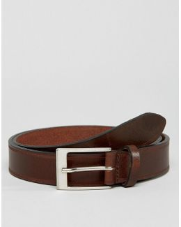 Smart Slim Leather Belt In Brown With Edge Emboss