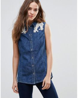 Embroidered Lace Shoulder Denim Shirt