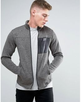 Tech Longline Track Jacket With Funnel Neck In Marl