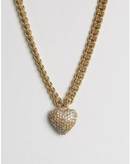 Champagne Ombre Heart & Chain Necklace