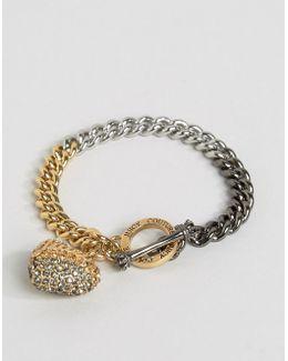 Champagne Ombre Heart & Chain Bracelet