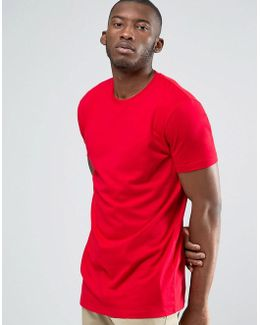 Longline T-shirt With Crew Neck In Red