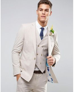 Wedding Skinny Suit Jacket In Crosshatch Nep With Floral Print Lining