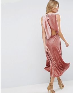 Velvet Metallic Drape Open Back Midi Dress