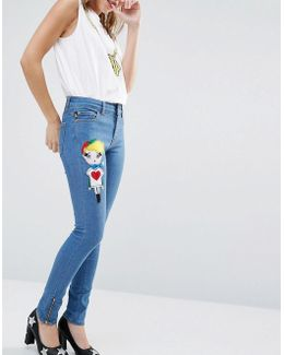 Skinny Jeans With Felt Doll Patch